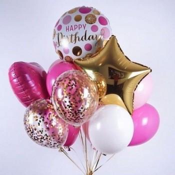 Μπουκέτο με Μπαλόνια Happy Birthday Foil 18' Καρδία και Αστέρι και Latex 11'
